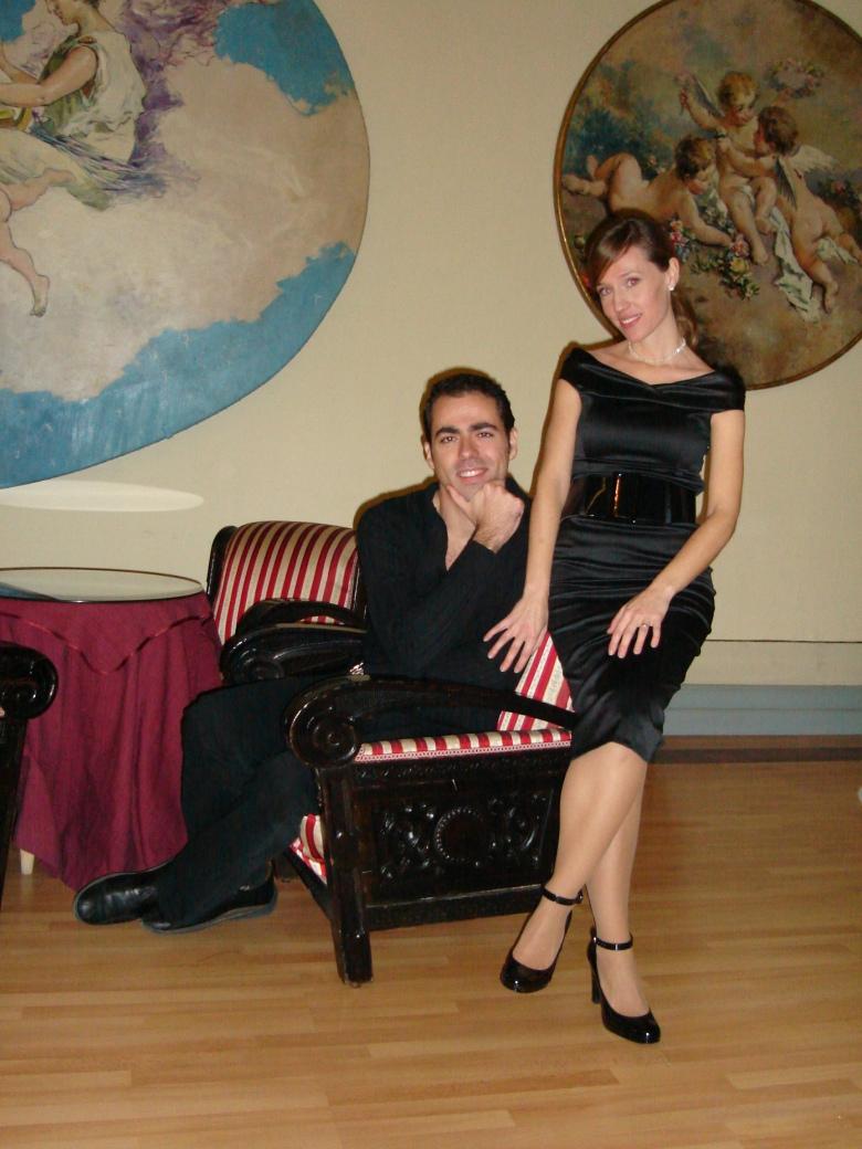 Maria y yo en el antiguo Conservatorio Maria Cristina de Málaga, justo antes de actuar